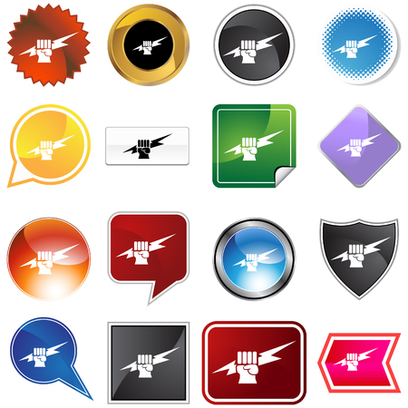 Lightning fist icon set isolated on a white background. Vector