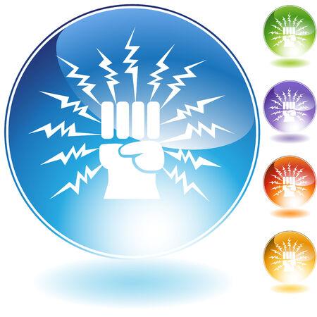bolt: Lightning punch crystal icon isolated on a white background. Illustration