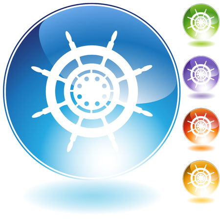 Ship steering wheel crystal icon isolated on a white background. Vector