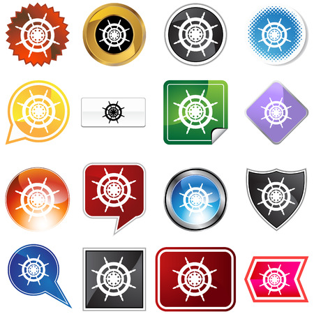 Ship steering wheel icon set isolated on a white background. Vector