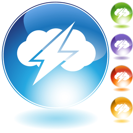 thunder storm: Thunder cloud crystal icon isolated on a white background. Illustration