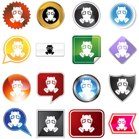 Gas mask icon set isolated on a white background. Vector
