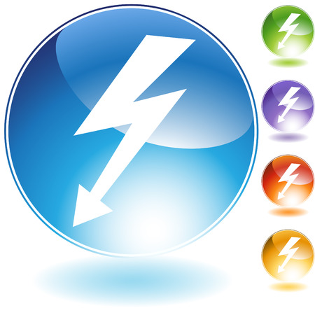 high: High voltage crystal icon isolated on a white background.