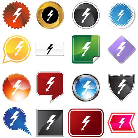 Hochspannungs-Icon-Set isoliert auf weißem Hintergrund.  Vektorgrafik