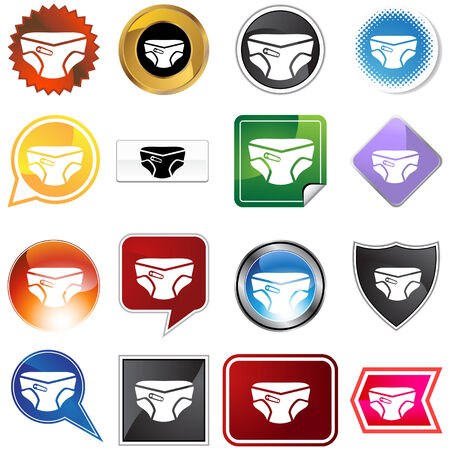 Diaper icon set isolated on a white background. Vector