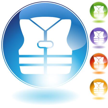 Life jacket crystal icon  isolated on a white background. Ilustração