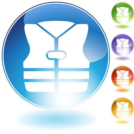 life jacket: Life jacket crystal icon  isolated on a white background. Illustration