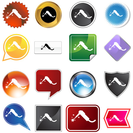 glow stick: Welding torch icon set isolated on a white background.