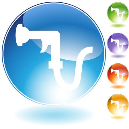Garden hose crystal icon isolated on a white background. Ilustrace
