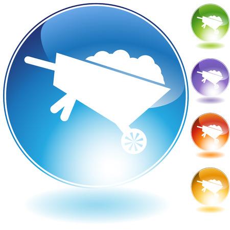 Wheelbarrow crystal icon isolated on a white background.
