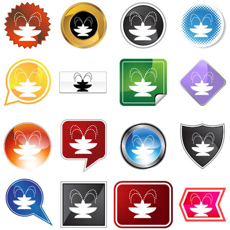 Fountain icon set isolated on a white background. Vector