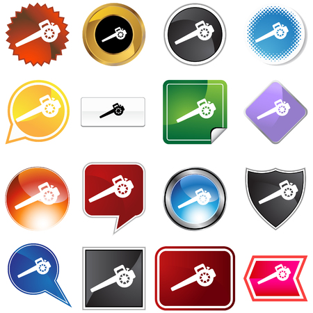 Lawn blower icon set isolated on a white background. Vector