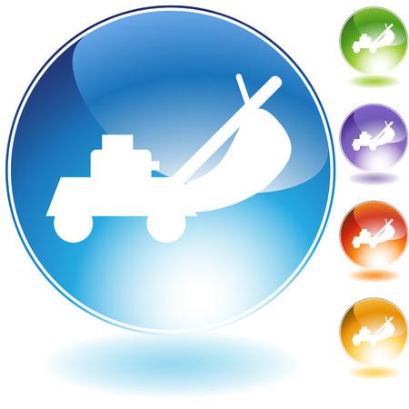 lawn: Grasmaaier crystal pictogram geïsoleerd op een witte achtergrond.