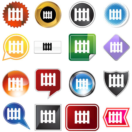 chrome: Picket fence icon set isolated on a white background.