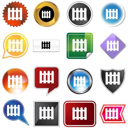 symbol fence: Picket fence icon set isolated on a white background.