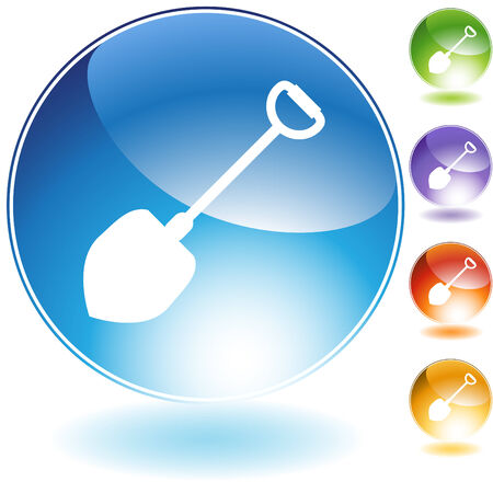 Shovel crystal icon isolated on a white background. Ilustrace