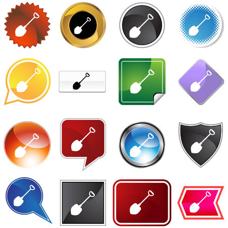 Shovel icon set isolated on a white background. Vector