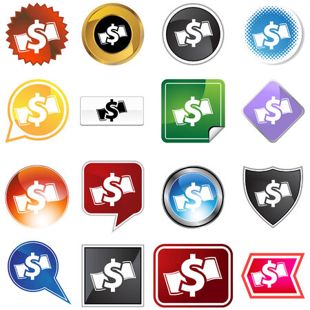 Cash icon set isolated on a white background. Stock Vector - 5918878