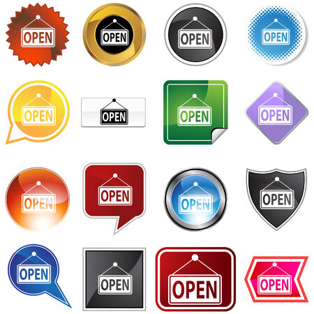 Open sign icon set isolated on a white background. Stock Vector - 5918882