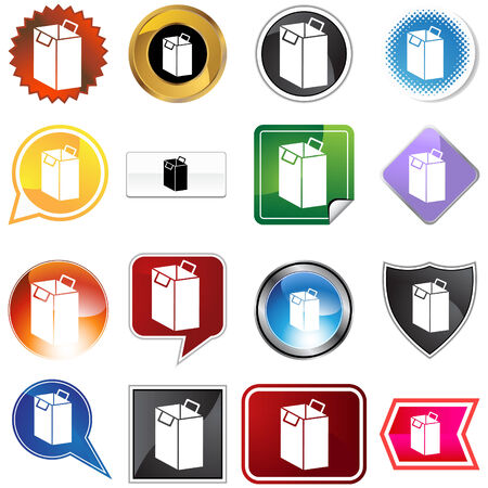 Shopping bag icon set isolated on a white background. Vector