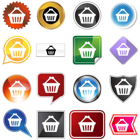 chrome cart: Shopping cart icon set isolated on a white background. Illustration