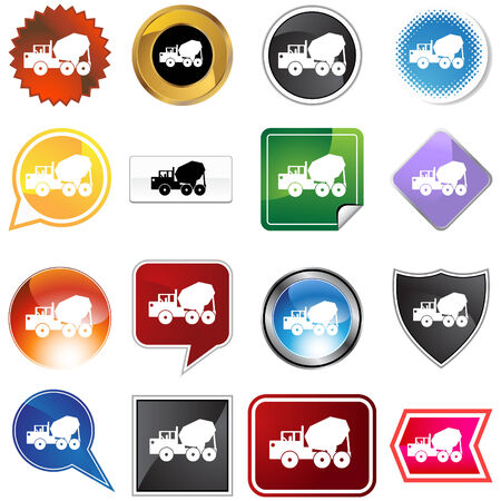 Cement truck icon set isolated on a white background. Vector
