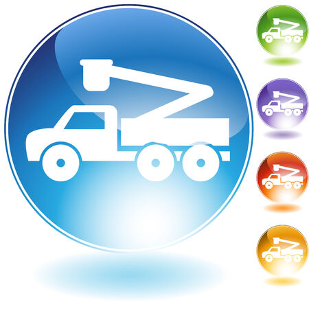 Crane lift truck crystal icon isolated on a white background. Vector