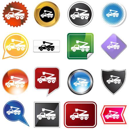 버킷: Crane lift truck icon set isolated on a white background. 일러스트