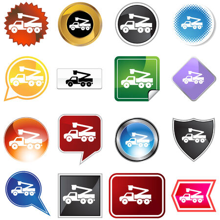 Crane lift truck icon set isolated on a white background. Vector