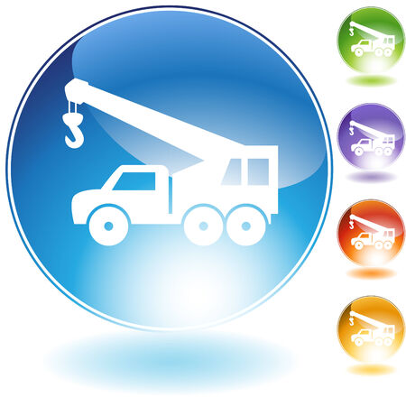Crane hook truck crystal icon isolated on a white background.