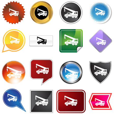 Crane hook truck icon set isolated on a white background. Vector