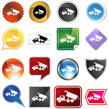 Dump truck icon set isolated on a white background. Vector