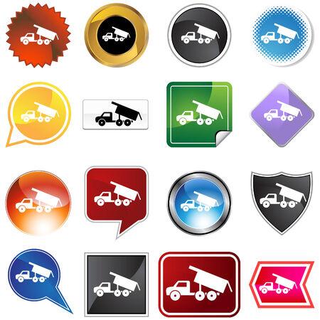 shiny black: Dump truck icon set isolated on a white background.