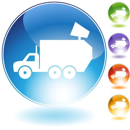camion de basura: Icono de cristal de cami�n de basura aislado en un fondo blanco. Vectores