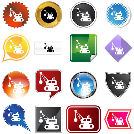 Wrecking ball icon set isolated on a white background. Vector