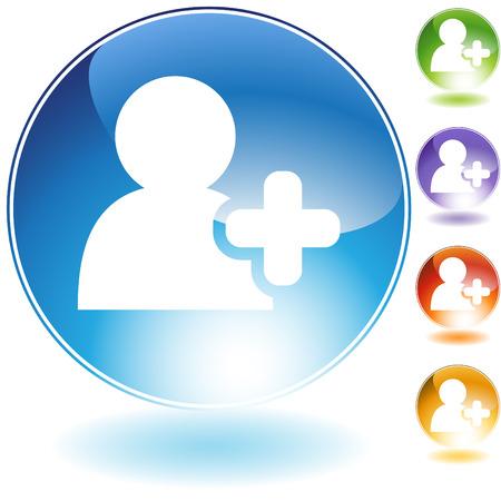 Voeg vriend kristal pictogram geïsoleerd op een witte achtergrond.  Stock Illustratie