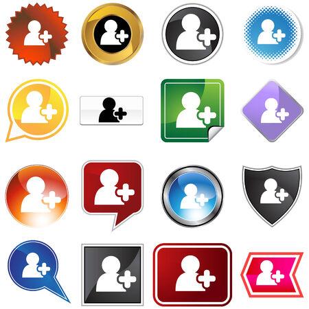 agregar: A�adir conjunto de iconos de amigo aislado en un fondo blanco.  Vectores