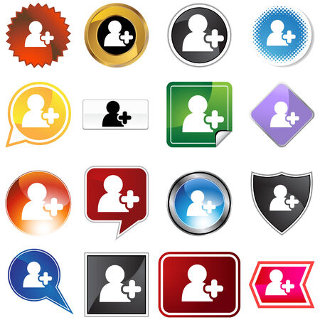add button: Add friend icon set isolated on a white background.