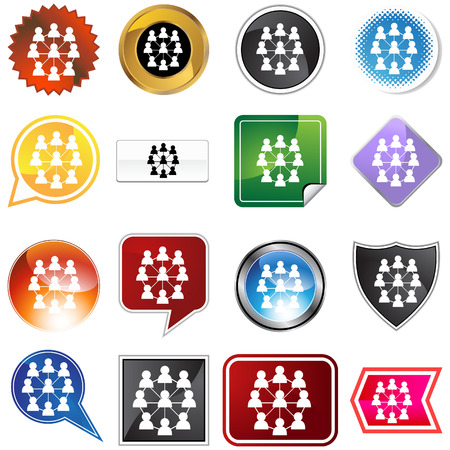 Extended network icon set isolated on a white background. Vector