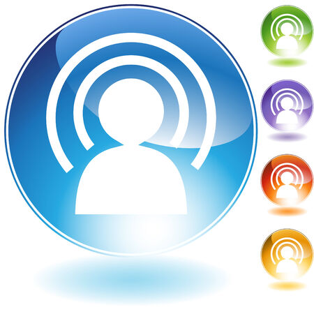 wireless: Wireless man crystal icon isolated on a white background.