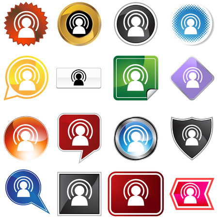 Wireless man icon set isolated on a white background. Stock Vector - 5918898