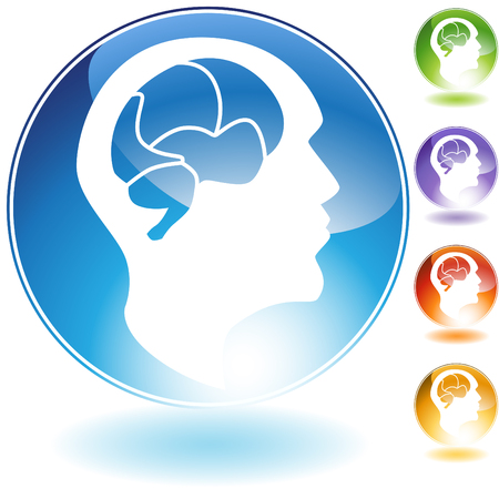 mind set: Human mind crystal icon isolated on a white background. Illustration