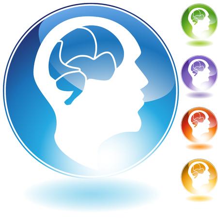 cerebros: Icono de cristal de mente humana aislado en un fondo blanco.