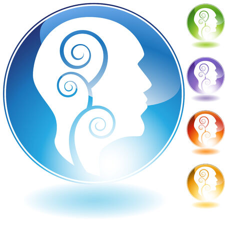 mind set: Healthy mind crystal icon isolated on a white background.