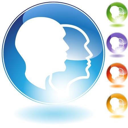 esquizofrenia: Icono de cristal de esquizofrenia aislado en un fondo blanco. Vectores