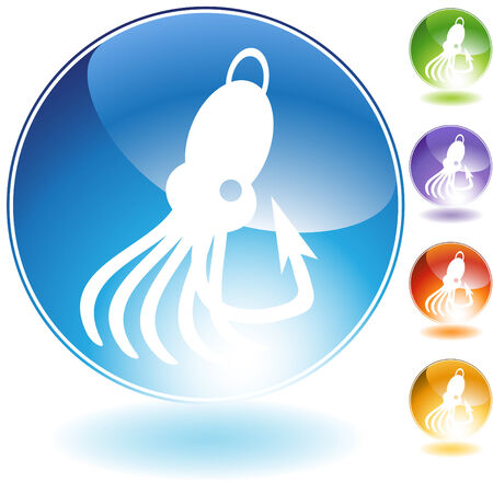 fishing lure: Squid fishing lure crystal icon isolated on a white background.