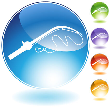fishing pole: Fishing pole crystal icon isolated on a white background. Illustration