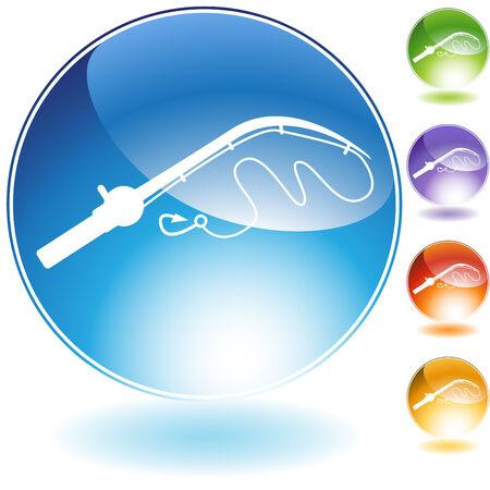 fishing pole: Fishing pole crystal icon isolated on a white background. Illustration