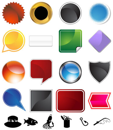 Fishing icon set isolated on a white background. Stock Vector - 5934749