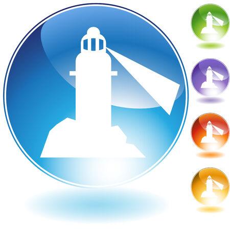 Lighthouse crystal icon isolated on a white background. Çizim